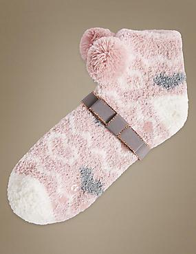 Pom Pom Slipper Socks, PINK MIX, catlanding