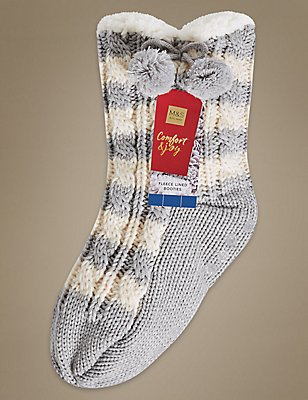 Striped Cable Knitted Booties, GREY MIX, catlanding