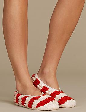 Cable knit Striped Ballet Slipper Socks, RED MIX, catlanding