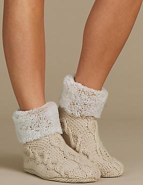 Fleece Cable Knit Short Booties, OATMEAL, catlanding