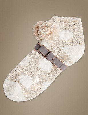 Pom Pom Spotted Slipper Socks, OATMEAL MIX, catlanding
