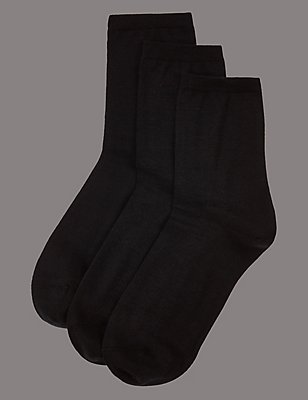 3 Pair Pack Warm Toes Ankle High Socks, BLACK MIX, catlanding
