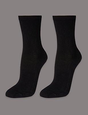 2 Pair Pack Ankle High Socks , BLACK MIX, catlanding