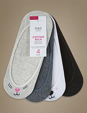 4 Pair Pack Cotton Rich Low Cut Footsies, GREY MIX, catlanding