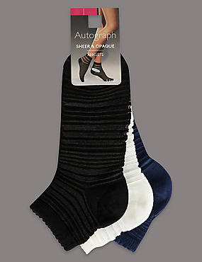 3 Pair Pack Cotton Rich Sheer Stripe Ankle Socks, BLACK MIX, catlanding