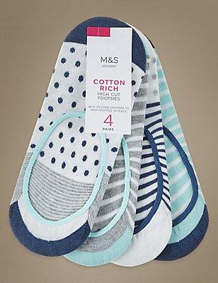 4 Pair Pack Cotton Rich High Cut Footsies, WHITE MIX, catlanding