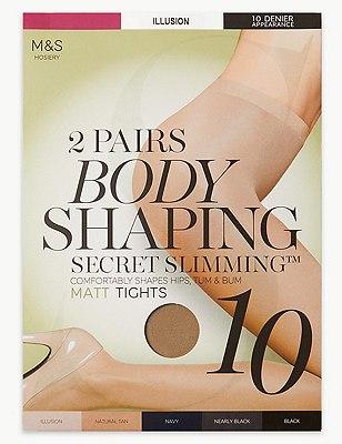 10 Denier Secret Slimming™ Matt Bodyshaper Tights 2 Pair Pack, ILLUSION, catlanding