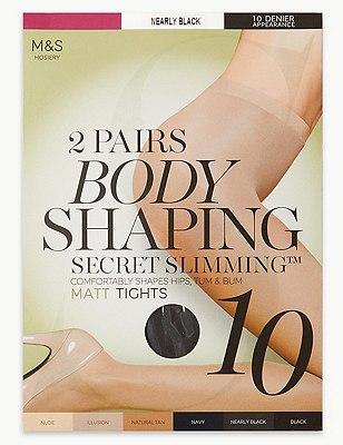 10 Denier Secret Slimming™ Matt Bodyshaper Tights 2 Pair Pack, NEARLY BLACK, catlanding