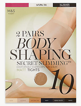 Pack de 2 pares de medias moldeadoras mate de 10deniers con Secret Slimming™, BRONCE NATURAL, catlanding