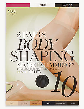2 Pair Pack 10 Denier Secret Slimming™ Matt Body Shaper Tights, BLACK, catlanding