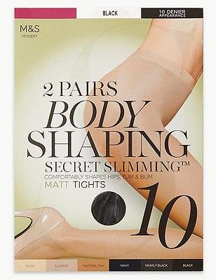 10 Denier Secret Slimming™ Matt Bodyshaper Tights 2 Pair Pack, BLACK, catlanding