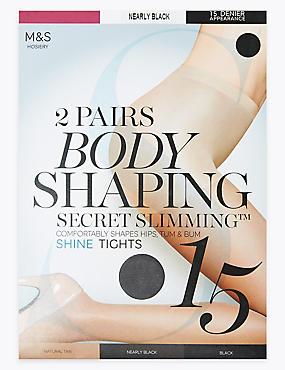 2 Pair Pack 15 Denier Secret Slimming™ Shine Body Shaper Tights, NEARLY BLACK, catlanding