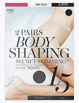 15 Denier Secret Slimming™ Shine Bodyshaper Tights 2 Pair Pack, NEARLY BLACK, catlanding