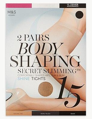 15 Denier Secret Slimming™ Shine Bodyshaper Tights 2 Pair Pack, NATURAL TAN, catlanding