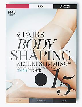 2 Pair Pack 15 Denier Secret Slimming™ Shine Body Shaper Tights, BLACK, catlanding