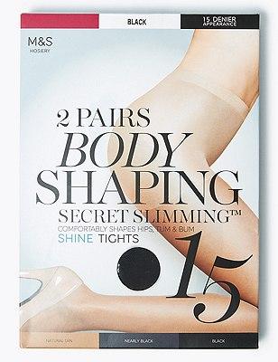 15 Denier Secret Slimming™ Shine Bodyshaper Tights 2 Pair Pack, BLACK, catlanding