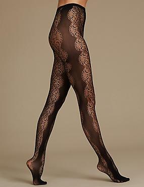 Lace Sheer Tights, BLACK, catlanding