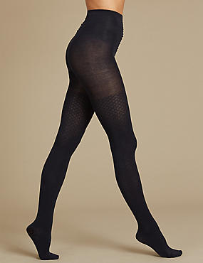Cotton Rich Heavyweight Opaque Tights, NAVY, catlanding