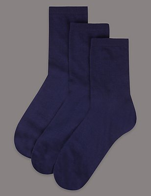 3 Pair Pack Cotton Rich Ankle High Socks, NAVY, catlanding