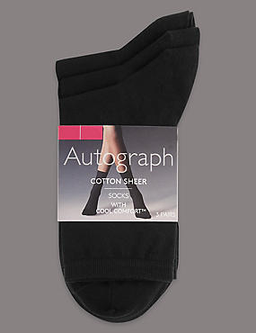 3 Pair Pack Cotton Rich Ankle High Socks, BLACK, catlanding