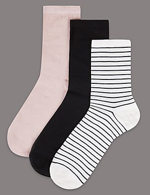 3 Pair Pack Cotton Sheer Ankle High Socks, BLACK MIX, catlanding
