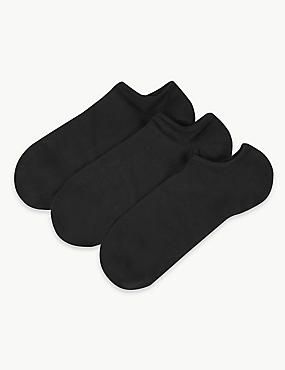 3 Pair Pack Ultra No Show Cotton Sheer Trainer Liner Socks, BLACK, catlanding