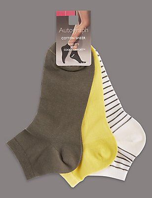 3 Pair Pack Cotton Sheer Ankle Socks, LIME MIX, catlanding