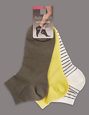 3 Pair Pack Cotton Rich Ankle Socks, LIME MIX, catlanding