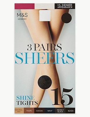 15 Denier Sheer Shine Tights 3 Pair Pack, BLACK, catlanding