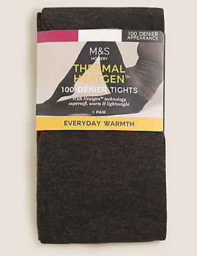 100 Denier Heatgen™ Opaque Tights , GREY, catlanding