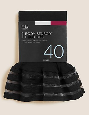 40 Denier Body Sensor™ Opaque Hold-Ups , BLACK, catlanding