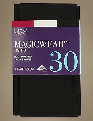 30 Denier Body Sensor™ Magicwear™ Opaque Bodyshaper Tights 1 Pair Pack, BLACK, catlanding