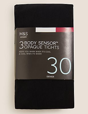 3 Pair Pack 30 Denier Body Sensor™ Opaque Tights, BLACK, catlanding