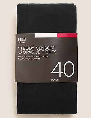 3 Pair Pack 40 Denier Body Sensor™ Opaque Tights, BLACK, catlanding