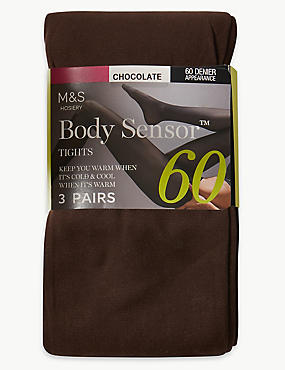 3 Pair Pack 60 Denier Body Sensor™ Opaque Tights, CHOCOLATE, catlanding