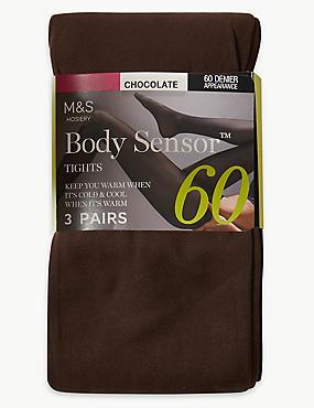 60 Denier Body Sensor™ Opaque Tights 3 Pair Pack, CHOCOLATE, catlanding