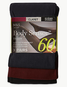 3 Pair Pack 60 Denier Body Sensor™ Opaque Tights, CLARET, catlanding