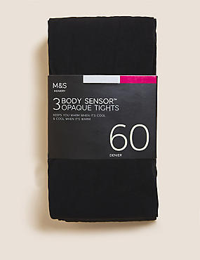 3 Pair Pack 60 Denier Body Sensor™ Opaque Tights, BLACK, catlanding