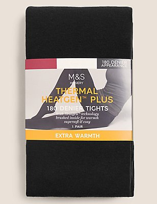 180 Denier Heatgen™ Brushed Thermal Opaque Tights, BLACK, catlanding