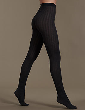 100 Denier Cable Knit Opaque Tights