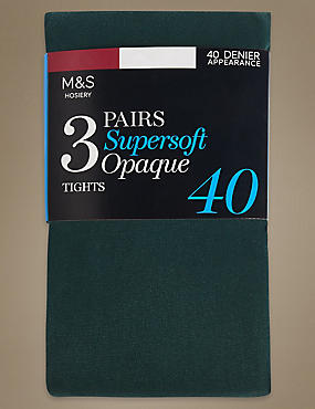 Lot de 3paires de collants opaques ultra-doux 40deniers, VERT, catlanding