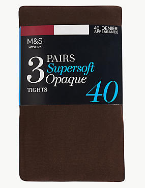 40 Denier Supersoft Opaque Tights 3 Pair Pack