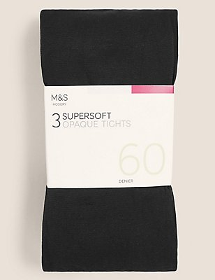 3 Pair Pack 60 Denier Supersoft Opaque Tights, BLACK, catlanding