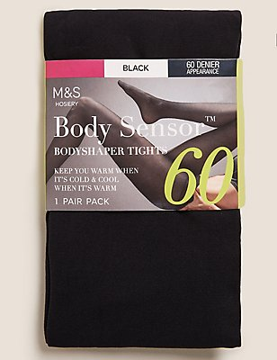 60 Denier Light Control Body Shaper Opaque Tights, BLACK, catlanding