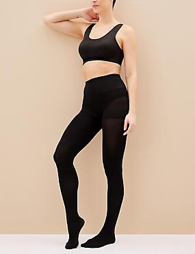 60 Denier Light Control Body Shaper Opaque Tights, BLACK, catlanding