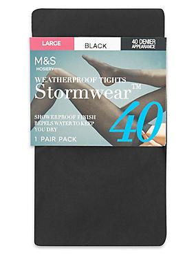 40 Denier Stormwear™ & Body Sensor™ Opaque Tights 1 Pair Pack, BLACK, catlanding