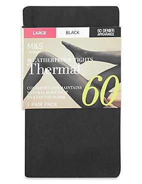 60 Denier Thermal Opaque Tights, BLACK, catlanding