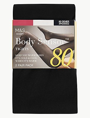 2 Pair Pack 80 Denier Body Sensor™ Opaque Tights, BLACK, catlanding