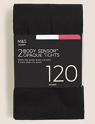 2 Pair Pack 120 Denier Body Sensor™ Opaque Tights, BLACK, catlanding