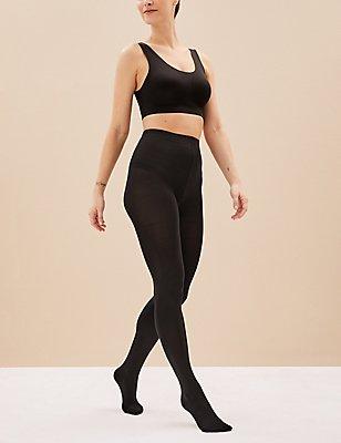 2 Pair Pack 100 Denier Body Sensor™ Opaque Tights, BLACK, catlanding